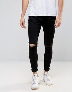 Черные джинсы скинни с рваными коленями Selected Homme - Черный
