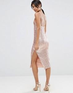 Платье миди в стиле 90‑х с пайетками и лямками сзади ASOS - Золотой