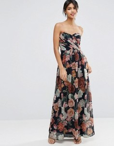 Шифоновое платье‑бандо макси с цветочным принтом ASOS WEDDING - Мульти
