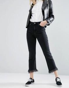 Черные выбеленные расклешенные джинсы укороченного кроя ASOS - Черный