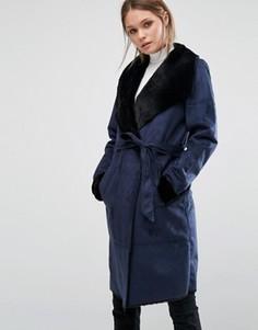 Пальто из искусственной овечьей шерсти с поясом Vero Moda - Темно-синий