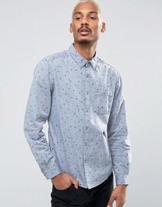 Рубашка с карманом и сплошным принтом Esprit - Темно-синий