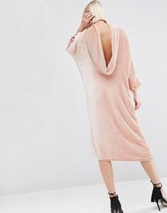 Платье с драпировкой сзади и отделкой пайетками ASOS WHITE - Розовый