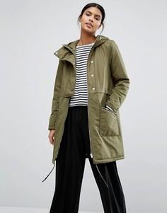 Дутое пальто на пуговицах Vila - Зеленый