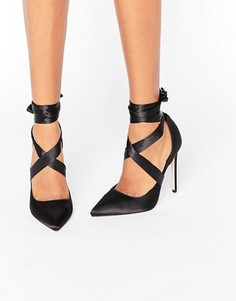 Атласные туфли на каблуке с острым носом и шнуровкой ASOS PINO - Черный