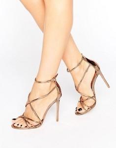 Золотистые сандалии на каблуке с ремешками Office Spindle - Золотой