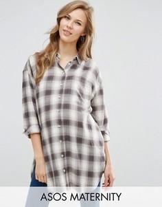 Длинная рубашка бойфренда в клетку ASOS Maternity - Мульти