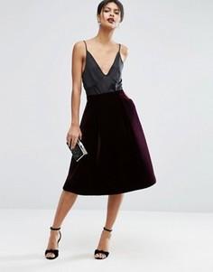 Бархатная юбка для выпускного ASOS Premium - Красный