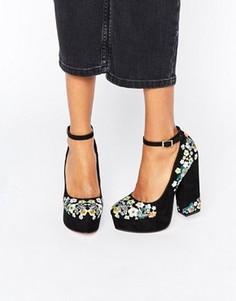 Туфли на платформе с вышивкой ASOS PANCAKES - Черный