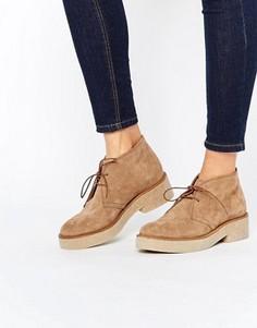 Замшевые ботинки на шнуровке ASOS ALVA - Бежевый