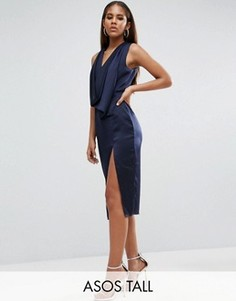 Платье миди со свободным воротом и вырезом сзади ASOS TALL - Темно-синий
