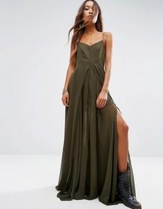 Однотонное платье макси Religion - Зеленый