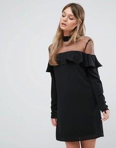 Платье с чокером, прозрачной вставкой и оборкой Fashion Union - Черный