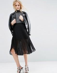 Плиссированная юбка миди с удлиненной кромкой ASOS - Черный