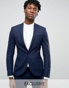 Супероблегающий пиджак с разрезами на лацканах Noak - Темно-синий