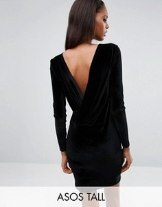 Бархатное платье мини с длинными рукавами и запахом сзади ASOS TALL - Черный