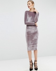 Бархатное платье миди с длинными рукавами и запахом сзади ASOS - Серый