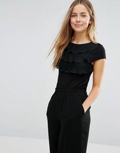 Ярусная рубашка с короткими рукавами и оборками спереди Vero Moda - Черный