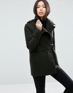Пальто из смесовой шерсти с отлетной кокеткой ASOS - Коричневый