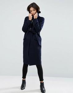 Полушерстяное пальто с меховым воротником ASOS - Темно-синий