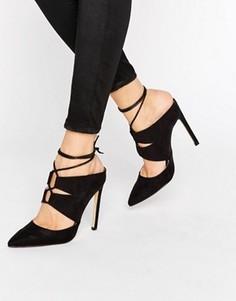 Сабо на каблуке с заостренным носком и шнуровкой Missguided - Черный