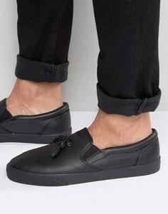 Черные кеды-слипоны с кисточками ASOS - Черный