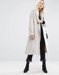 Мягкое фактурное пальто с поясом ASOS - Розовый