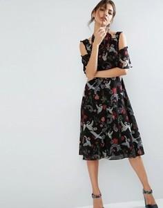 Платье миди с кружевной отделкой и принтом ASOS - Мульти