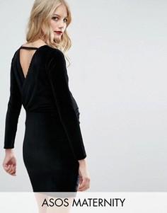 Бархатное платье мини с запахом сзади ASOS Maternity - Черный