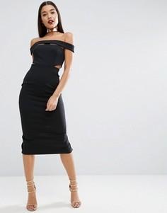 Платье миди с горловиной-чокер металлик ASOS RED CARPET - Черный