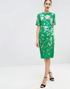 Цельнокройное платье с вышивкой ASOS - Зеленый
