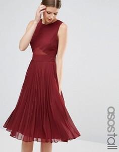 Платье миди со складками ASOS TALL - Красный