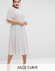Платье миди с рукавами-бабочками и отделкой ASOS CURVE WEDDING - Серый