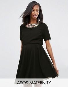 Платье с укороченным лифом и цветочной отделкой ASOS Maternity - Черный