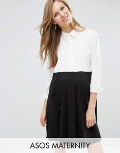 Платье-рубашка для беременных в стиле колор блок ASOS Maternity - Черный