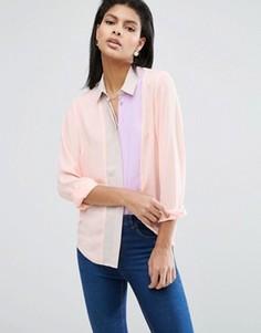Блузка в стиле колор блок со складками ASOS - Мульти