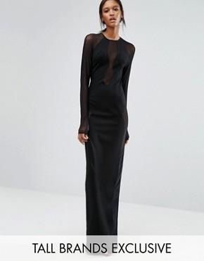 Черное платье макси с длинными рукавами и сетчатыми вставками TTYA Seredo - Черный