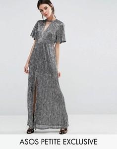 Платье макси цвета металлик с вырезом на горловине и высоким разрезом ASOS PETITE - Серебряный