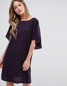 Платье в горошек с оборками Y.A.S Naomi - Синий