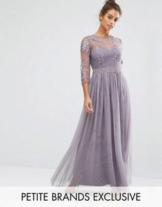 Платье макси с вышивкой и плиссированной юбкой Little Mistress Petite - Фиолетовый