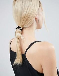 Бархатная резинка для волос с цепочкой с крупными звеньями ASOS - Черный