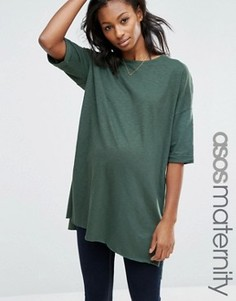 Длинная футболка для беременных с разрезами ASOS Maternity - Зеленый