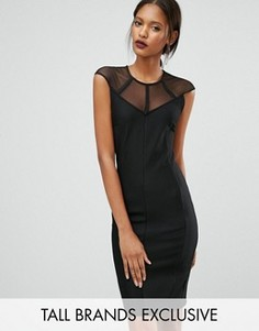 Платье в рубчик с сетчатыми кокеткой и рукавами Y.A.S Tall Margarita - Черный