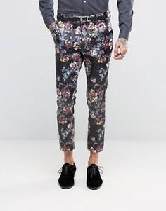 Сатиновые укороченные супероблегающие брюки с цветочным принтом ASOS - Фиолетовый