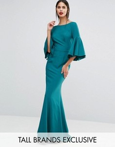 Платье макси с пуговицами сзади и рукавами-колокол Jarlo Tall - Зеленый