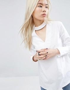 Рубашка с V-образным вырезом и пуговицами сзади ASOS WHITE - Белый