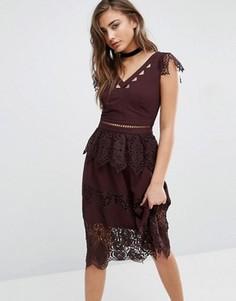 Кружевное платье Miss Selfridge - Фиолетовый