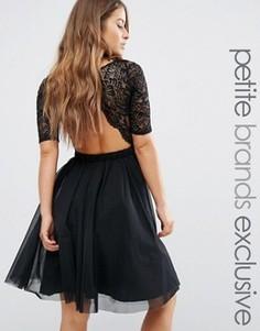 Платье миди для выпускного с кружевным лифом и вырезами John Zack Petite - Черный