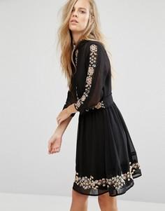 Короткое приталенное платье с цветочной вышивкой Miss Selfridge - Черный