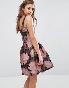 Платье с цветочным принтом и бантом сзади Miss Selfridge - Мульти